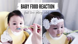 Cute Baby Reaction To Food | Baby Eating Solid Food  For The First Time | Meu \u0026 Mea