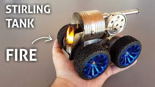 COOL Mini Stirling Engine TANK MODEL Starting Up And Running