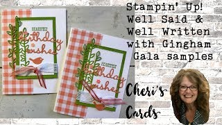 Well Said & Well Written with Gingham Gala Simple Birthday Stampin' Up! Birthday Card