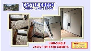 Hidden Bed/Wall bed.HWB-Single X2sets Castle Green +Top &Side Storage Cabinets.HWB HUB.BTO.EC.DBSS