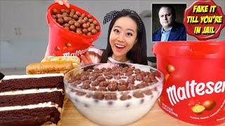 "MOST POPULAR ""CEREAL"" FOR ASMR! CHOCOLATE MALTESERS + CAKE MUKBANG"