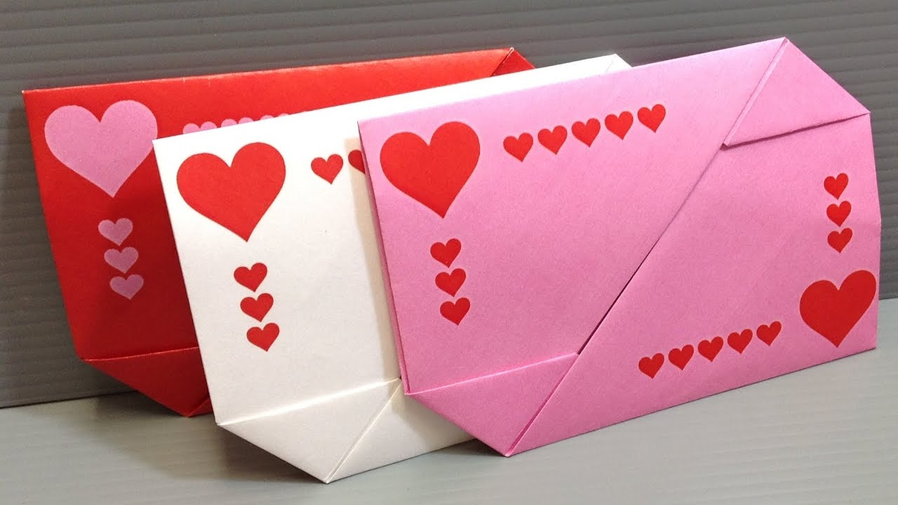 Origami Valentine S Day Gift Card Envelopes Print At Home Youtube