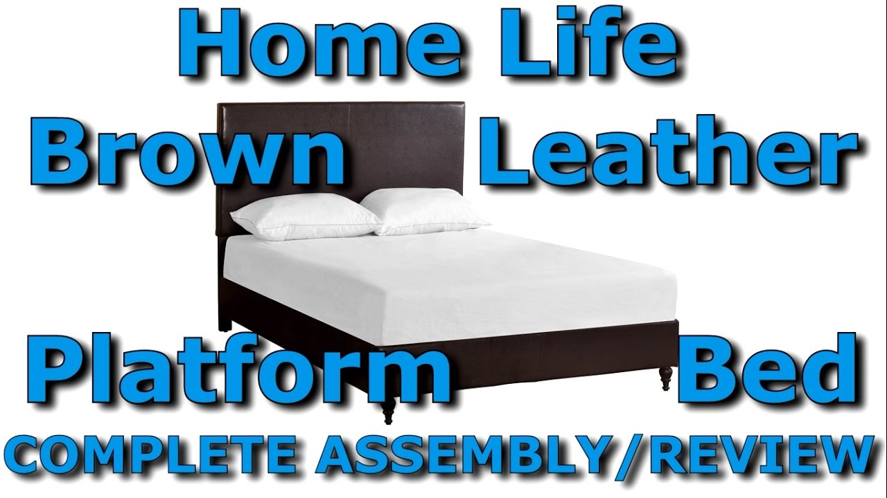 home life brown leather platform bed with slats queen unbox and