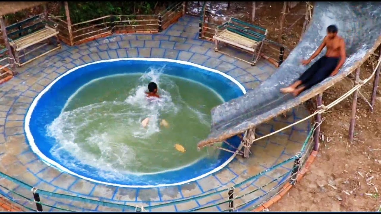 Full Video Build The Most Amazing Swimming Pool Waterfall Slide And Tree House Youtube