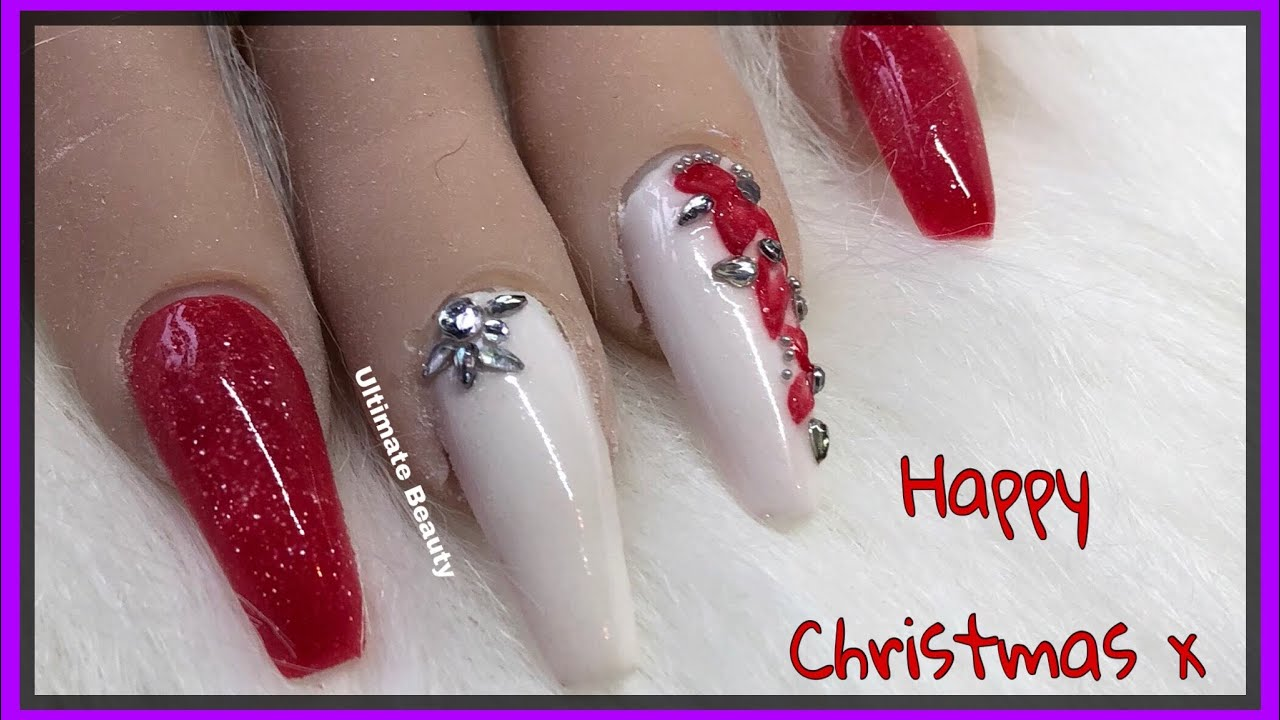 Red \u0026 White Acrylic Nails , 3d flowers , Christmas Nails