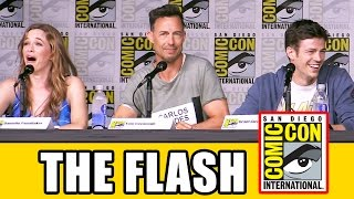 the flash season 3 comic con panel part 1   grant gustin candice patton keiynan lonsdale