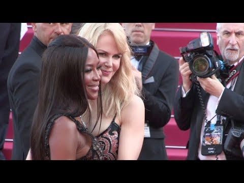Nicole Kidman and Naomi Campbell on the red carpet for the 70th Anniversary of the Cannes Film Festi
