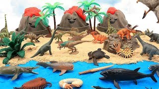 Toy Dinosaurs In Jurassic World Volcano Island! Learn Dinosaur Names With Dino Mini Set