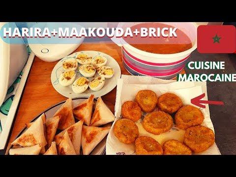 🍽[repas-complet]soupe-marocaine-brick-au-thon-beignets-de-pomme-de-terre