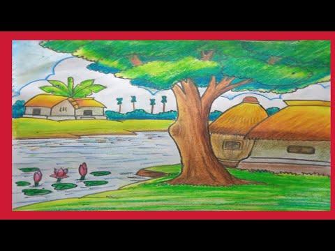 Easy oil pastel landscape drawing for beginner.
