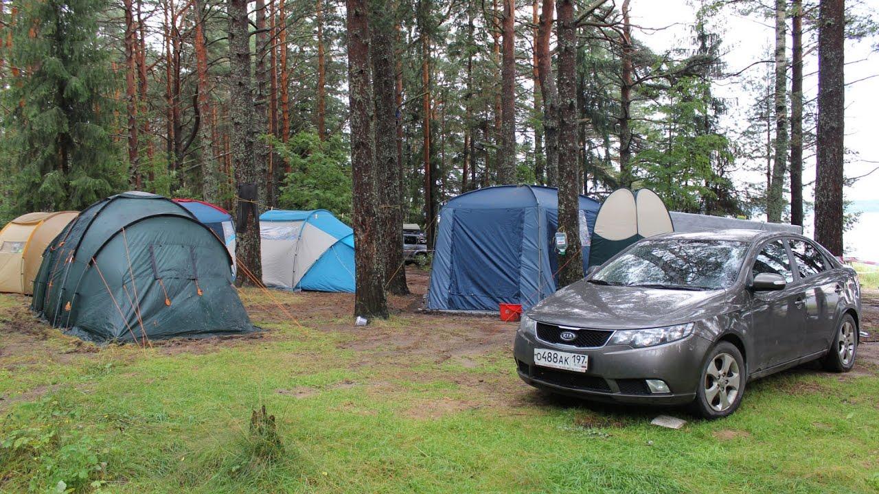 Отдых на озере Селигер. Часть 2.  Ставим палаточный лагерь