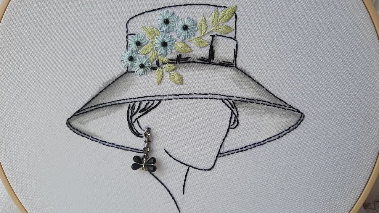Embroidery for beginners: Lady in a hat | easy stitches
