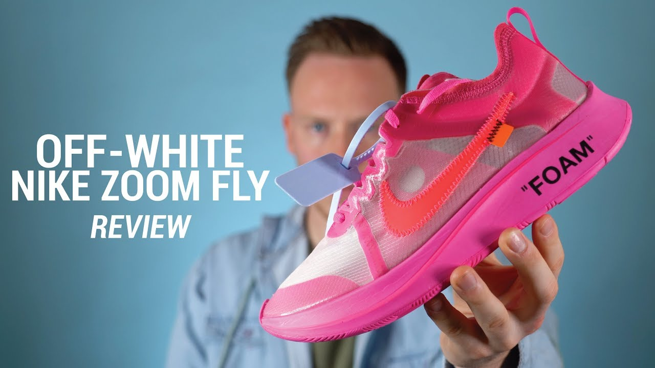 2e5d9c823bcbe OFF WHITE Nike Zoom Fly Tulip Pink Review   On Feet - YouTube
