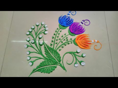 Using spoon to make beautiful and amazing rangoli design by JYOTI RAUT RANGOLI ll