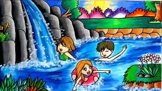 cara gradasi warna menggunakan oil pastel / drawing Waterfall