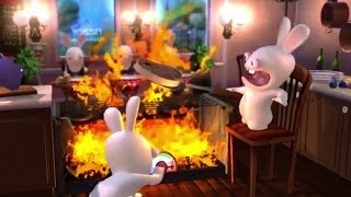rabbids land game play nintendo wii u ( barbecue)