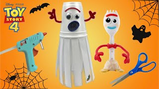 How To Make Halloween Forky Ghost Toy Story 4 Easy Tutorial! Halloween Craft Ghost