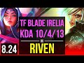 TF Blade IRELIA Vs RIVEN (TOP)   KDA 10/4/13, Dominating   NA Challenger   V8.24
