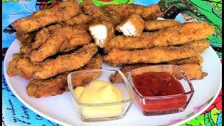 Куриные стрипсы как  в KFC - нежные кусочки куриного филе в панировке, обжаренные во фритюре.