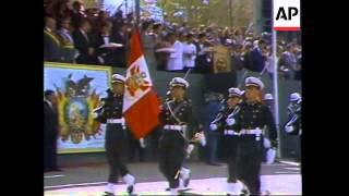 BOLIVIA: NEW PRESIDENT HUGO BANZER REVIEWS TROOPS AT MILITARY PARADE