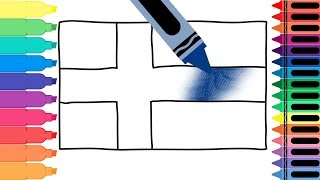 How to Draw Finland Flag - Drawing the Finnish Flag - Coloring Pages for Kids | Tanimated Toys
