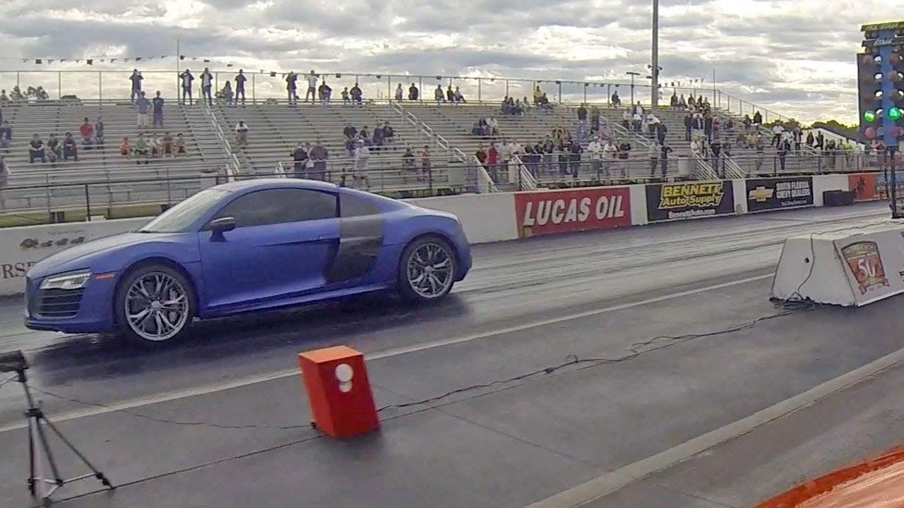 2014 audi r8 v10 plus vs 2012 mclaren mp4-12c drag racing 1/4 mile