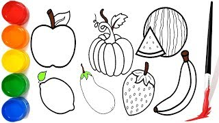 How to Draw Apple , Strawberry,Watermelon,Banana for little kids   Drawing and Coloring for children