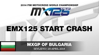 EMX125 Round of Bulgaria 2014 Start Crash - Motocross
