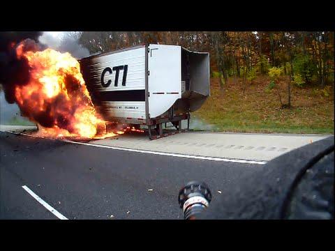 Helmet Cam - Semi Trailer Fire