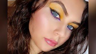 Красивый макияж глаз в желто фиолетовых тонах Beautiful eye makeup
