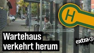 Realer Irrsinn: Verkehrte Welt bei Wartehäuschen in Erfurt