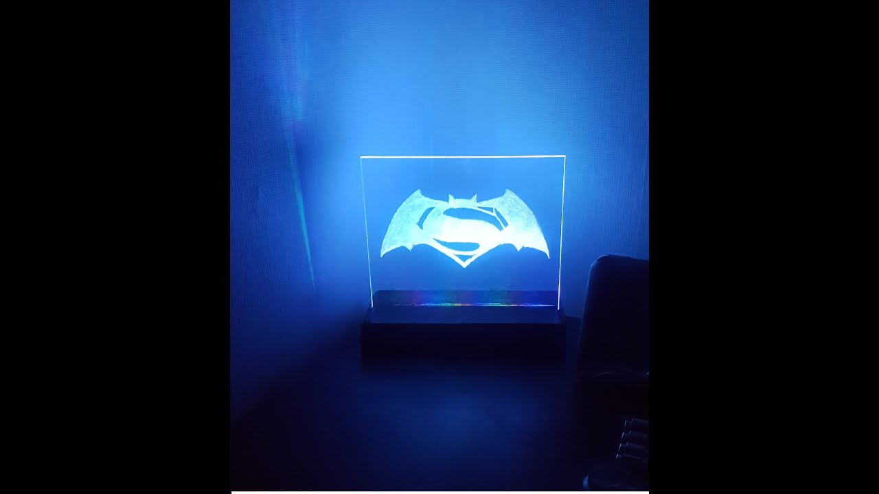 DIY LED light project Batman V Superman 2016! Engraved Perspex ... for Diy Acrylic Lamp  173lyp