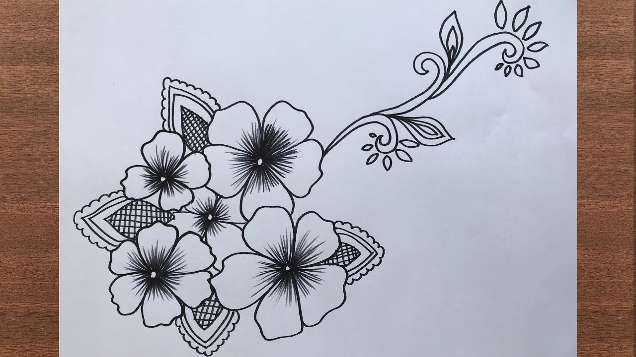 How To Draw Floral Flower Design For Beginners Step By Step Easy Drawing Youtube