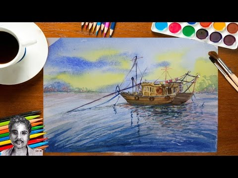 Easy Landscape Watercolor Painting for Beginners | How to Draw Ship Painting