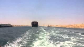 الصحفيون يرصدون عبور أول 3سفن فى قناة السويس الجديدة 25يوليو2015