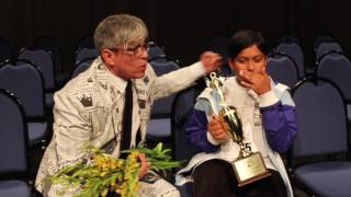 Michael Quintanilla talks to spelling bee winner Alex Iyer about the championship word