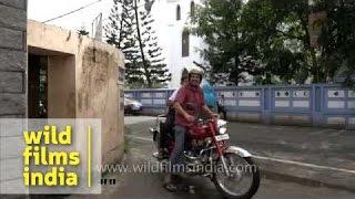 School Security Controls Road Traffic Outside Gate In Kerala
