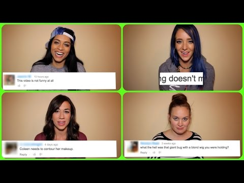 Thumbnail: Reading Mean Tweets! #MakeItHappy ft. Jenna Marbles, Colleen Ballinger, Lilly Singh, & Mamrie Hart!
