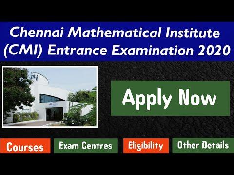 Chennai Mathematical Institute Entrance Exam 2020 Notification!! L CMI Chennai Admission 2020 L UET