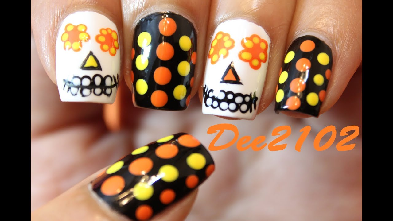 Sugar Skull Day of the Dead Nails | Dee2102 - YouTube