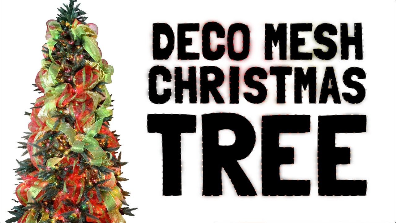 decorating a christmas tree with deco mesh
