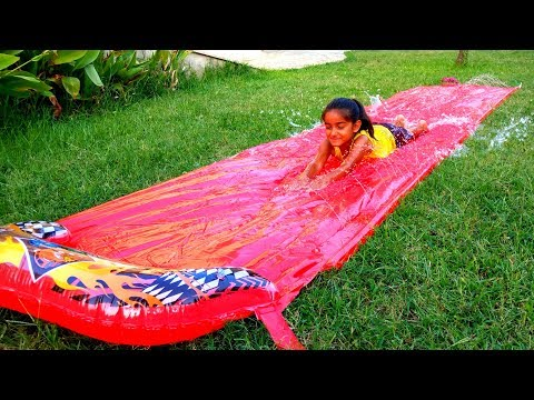 Esma playing with water slide funy for kids video