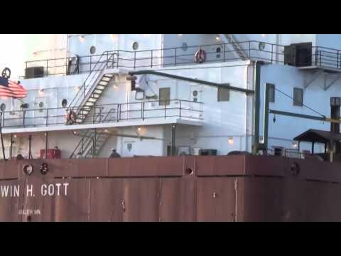 The Ore Ship Edwin H  Gott docking at Two Harbors, Minnesota