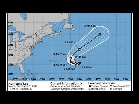 Major Hurricane Lee [14L] (2017) NHC Official Forecast Cone Advisories.