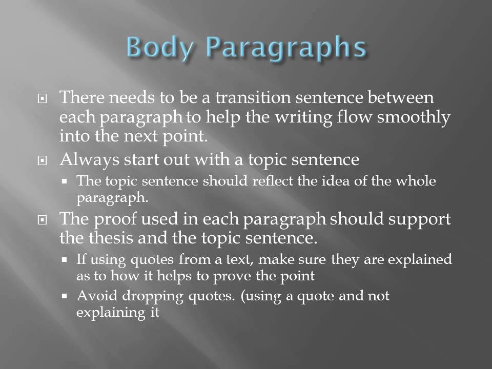 organizing the essay  introduction  body and conclusion