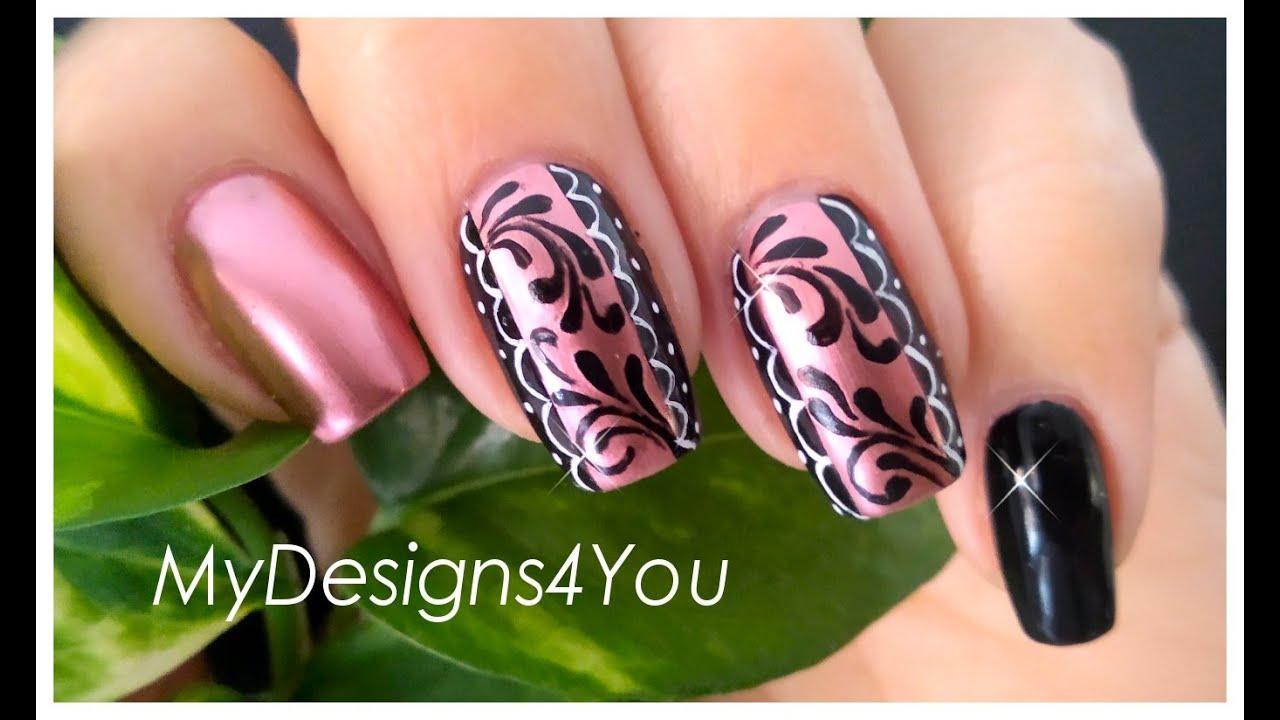 Romantic Nail Art Design Tutorial ♥ (With Rose Gold Mirror Effect Polish)