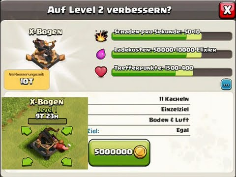 Clash of Clans:  X-Bow Upgrade to lvl 2