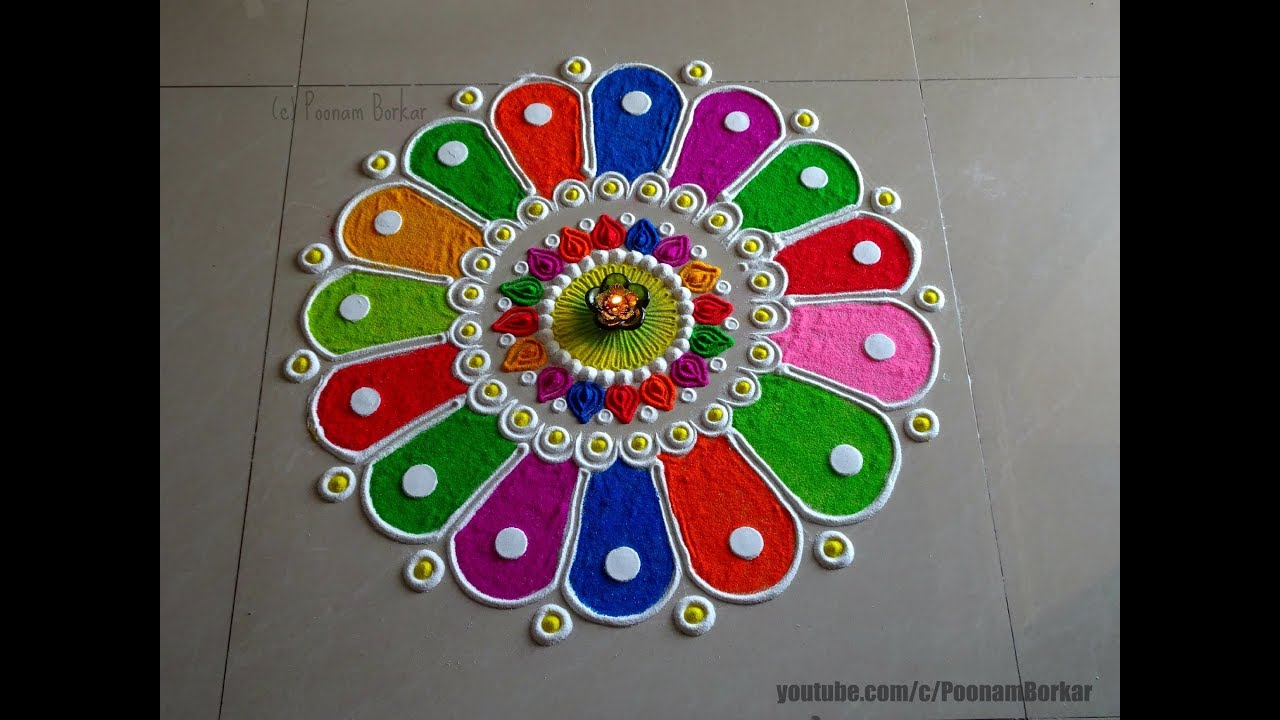 Diwali special easy colorful rangoli design | Innovative ...