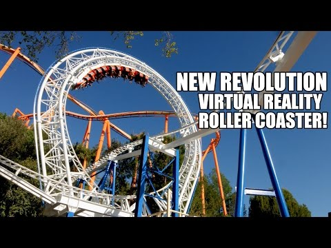 New Revolution Virtual Reality Roller Coaster Rider Cam POV Six Flags Magic Mountain - 2016