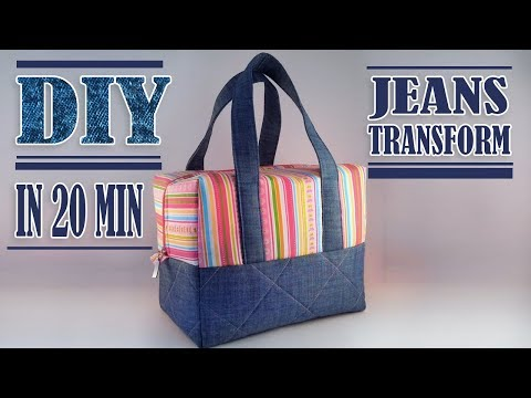 FANTASTIC DIY JEANS BAG IDEA // Zipper HandBag Out Of Old Jeans Tutorial Fast Making